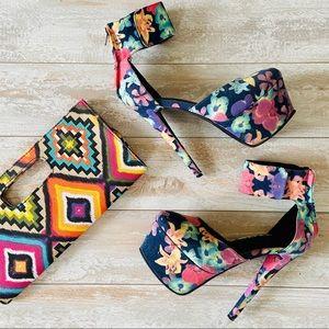Paper Fox platform stiletto floral print pumps